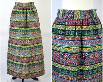 Vintage bright bohemian tribal pattern corduroy maxi skirt