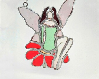 Stained Glass Fairy on the flower, stained glass gift, home decor, gift for her, window decor, suncatcher
