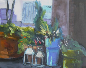 "Small Oil Urban Landscape Painting,  6x8 Painting  ""Manhattan Rooftop"" by Carol Schiff, Free Shipping in US"