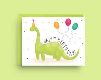 Dinosaur Birthday Card, Dinosaur Birthday, Kid's Birthday Card, Birthday Card for Boy, Boy Birthday Card, Happy Birthday Card