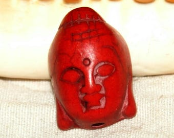 Buddha head X 1 howlite red 30X15mm