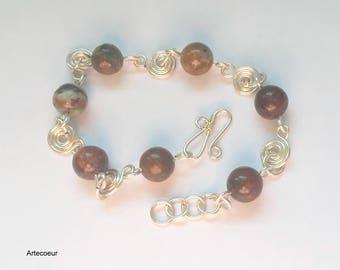 Bracelet pierre fine de Turquoise africaine spirales wire wrapping collection Nature Del cadeau pour elle
