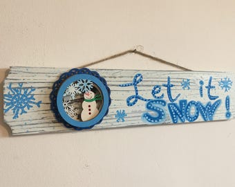 LET IT SNOW pallet sign snow lover pallet sign snowflakes snowglobe sign snowman home decor winter home decor holiday decorations ski home