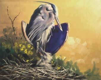 Great Blue Herons 11 x 17 print (image 10.5 . 12.75) by artist RUSTY RUST / H-75-P