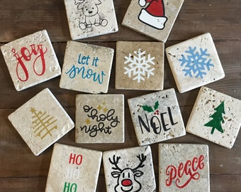 Holiday Tumbled Stone Coasters-Mix and Match