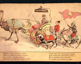 Wonderful 1888 Circus Full Color Chromolithograph Original Childrens Book Print From The Circus Procession #7 Wall Art Print Picture