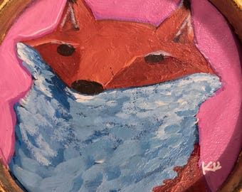 Original Painting of Orange and White fluffy Fox on pink canvas paper in 4 inch round antique plastic gold frame with attached stand