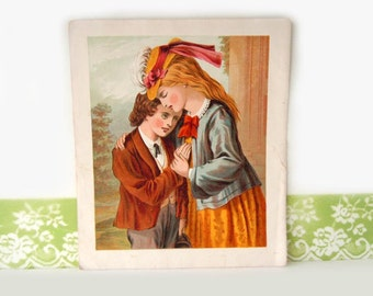 Antique Sister Wall Hanging Book Plate Picture Childrens Book 1800s