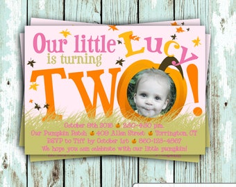 Customize this Fall, Autumn, Pumpkin, Pumpkin Patch, 2nd Birthday Invitation DIGITAL FILE