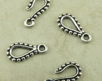 2 Sets TierraCast Beaded Hook and Eye Clasps - Silver Plated Lead Free Pewter - I ship internationally - 6085
