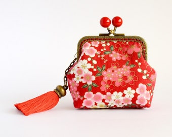 Hand crafted gold embossed Sakura Japanese coin purse with bronze kiss lock frame and red beads - collectable #0006