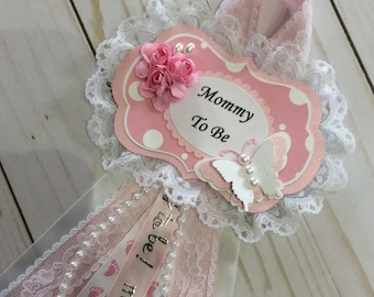 Shabby chic baby shower corsage/Butterfly baby shower corsage/Girl baby shower corsage/Light pink and white Baby Shower corsage