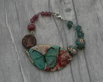 Pink and Blue Butterfly Bracelet, Butterfly Bracelet, Butterfly Bar Bracelet