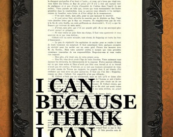 I can because I think I can print positive quote poster inspirational print
