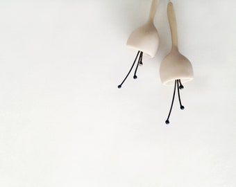 minimalistic bell flower polymer clay earrings in off white colour, made to order