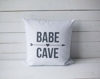 Babe Cave 18x18 screen printed throw pillow cover home decor