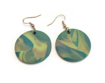 Marbled Earrings, Marble Earrings, Rainbow Marble Earrings, Swirl Earrings, Polymer Clay Earrings, Pastel Earrings