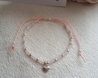 Pale pink, beaded charm bracelet