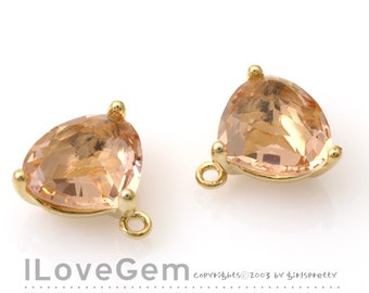 SALE 20% off // 10pcs of  NP-993 Gold Plated, Trilliant Cut, Peach, Champagne, Glass pendant, Framed glass, Faceted glass Pendant