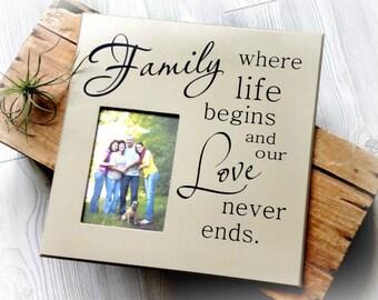 Picture Frame, Family Photo Frame, Gift for Mom, Family Frame Where Life Begins, Family Gift, Photo Frame For Family Photos, Gift for Family