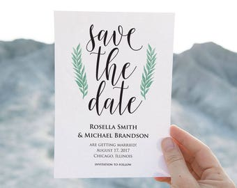 Save the Date Template, Save the Date Cards, Save the Date Printable, Rustic Save The Date, Wedding Template, PDF Template, LDS_156