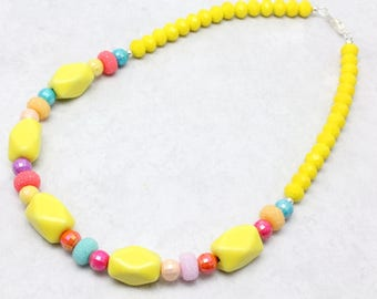 Little Girl Yellow and Pastel Necklace, Ceramic Beads, Pastel Colors, Easter Necklace, Spring Necklace