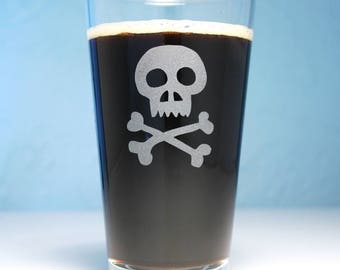 Skull and Crossbones Pint Glass - Pirate Jolly Roger