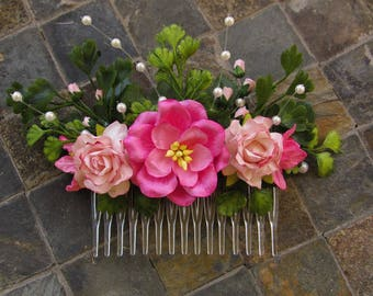 Pink Floral Hair Comb - Flower Hair Combs, Wedding Hair Combs, Pink Hair Combs, Wedding Floral Hair Comb, Pink Wedding Hair Accessories