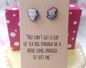 Handmade Book and Tea Earrings