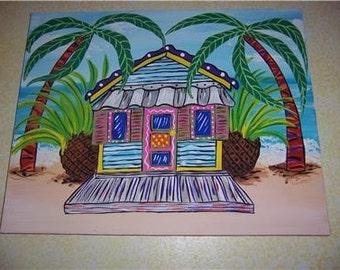 Tropical Beach Island Calypso Bungalow Hut Wood Sign Art Wall Home Decor