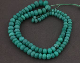1 Long Strand Natural Green Chalcedony Faceted Rondelles - Green Chalcedony Roundles Beads 5mm-8mm 17 Inches SB3285