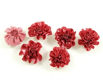 Set of 6 flower satin fabric and glitter - pink