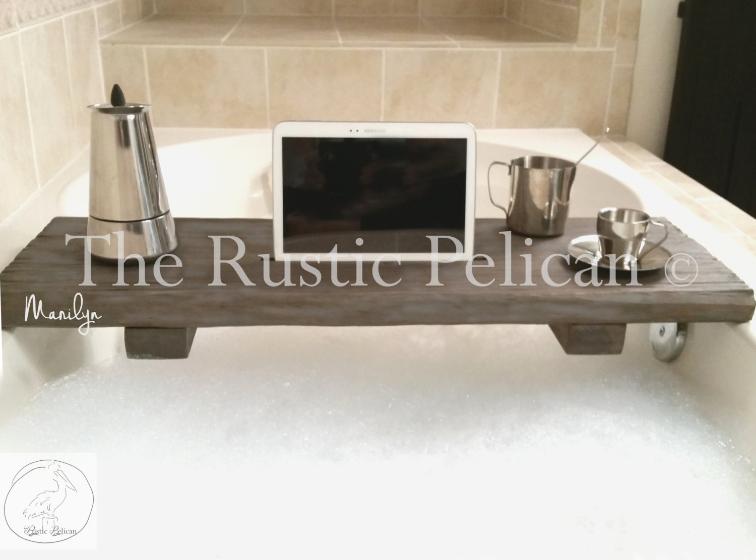 Rustic Bathtub Caddy-Wood Bathtub Tray Bath shelf