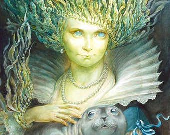 The Selkie (print) - mermaid art, ocean, seal, fairy tale goddess, childrens book, magical, artwork, home decor