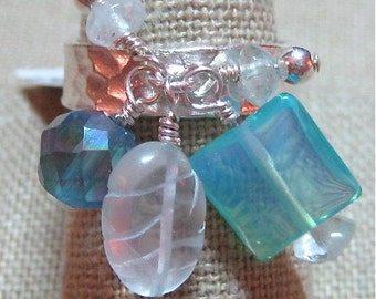 Blue Stones Carved & Smooth Aquamarine, Treated Faceted Apatite, Opalite Hammered Band Cluster Dangle Ring - Size 7.5 - R053