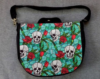 Skull and Rose Stained Glass Cross Body Purse Messenger Bag