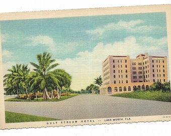 Vintage Florida Linen Postcard Lake Worth Gulf Stream Hotel in Palm Beach Area UNUSED