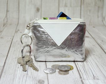 Party small wallet, Lipstick keychain wallet, metallic minimalist wallet,Cute small gift for sister,Christmas gift  for her stocking stuffer