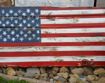 Rustic Wood American Flag, Wood Flag,  Pallet Flag, Rustic Flag Sign, Rustic Wall Decor, Farmhouse decor, Rustic Flag, Garden, Porch Flag