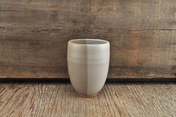 Two-tone satine glaze stoneware tumbler