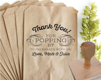 THANK YOU Popcorn Bag Favor Stamp – 2x3 in  – Personalized Wedding Paper Goods
