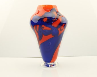 Hand blown glass vase with clear foot, Opaque Blue and Red Orange