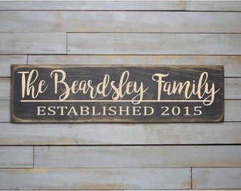 Wooden Sign | Custom Family Name Sign | Wedding Name Sign | Anniversary Sign | Last Name Sign | Custom Wood Sign | Established | Rustic |