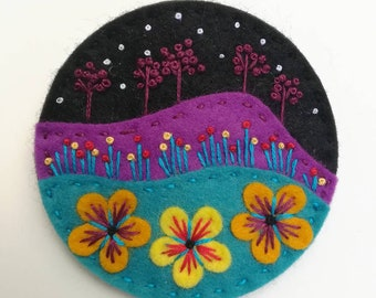 Starry Night felt brooch statement pin - hand embroidery - scandinavian style - unique - limited edition - Black turquoise purple nature