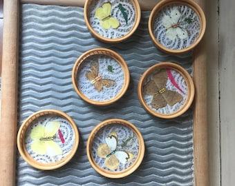 Butterfly Wicker Coasters   Set of 6 Vintage Butterfly Coasters   1970 Bamboo Coasters   Coasters with Pressed Butterflies   Vintage Barware