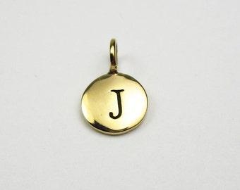 "Natural Bronze Letter  ""J"" Charm"