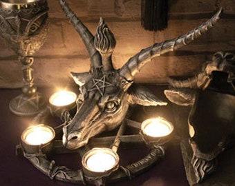 Baphomet Candle holder - baphomet occult gothic pagan eliphas levi lucifer satanic
