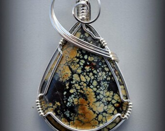 R2  SNOWVILLE variscite pendant wire sculpted wearable art sterling wire