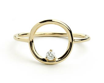 Open Circle Diamond Ring in 14k Gold / Unique Diamond Ring / Special Gift / mothers day gift