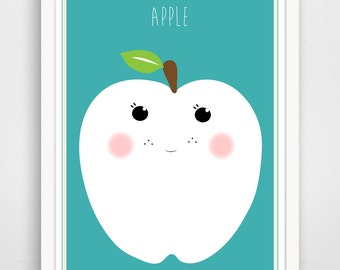Children's Wall Art / Nursery Decor  Apple  print by Finny and Zook